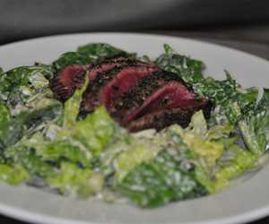 Caesar Salad with 4oz of Flat Iron Steak.